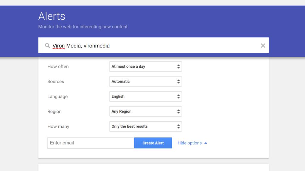 Google Alerts Setup Example